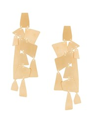 Annie Costello Brown Oversized Geometric Pendant Earrings Metallic