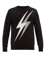 Neil Barrett Lightning Bolt Intarsia Wool Blend Sweater Grey