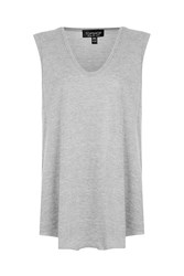 Topshop Slouchy Neck Tank Top Grey Marl