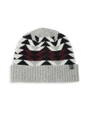 Bickley Mitchell Lambswool Blend Colorblock Knit Beanie Grey