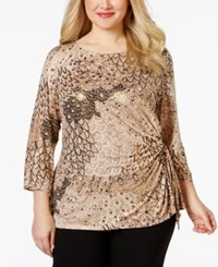 Msk Plus Size Printed Ruched Top Gold