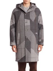 Neil Barrett Camo Hooded Virgin Wool Blend Coat Charcoal