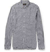 Beams Plus Button Down Collar Gingham Linen Shirt Black