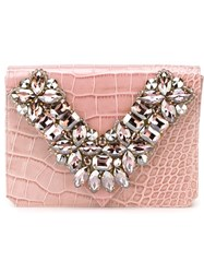 Gedebe Rhinestone Embellished Clutch Pink And Purple
