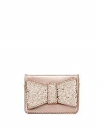 Neiman Marcus Glitter Bow Embellished Snap Wallet Rosegold