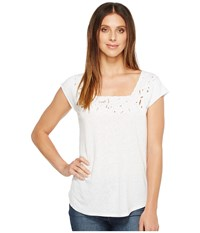 Nydj Cut Out Knit Tee Optic White Women's T Shirt