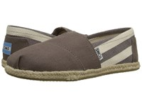 Toms Classics Dark Grey Stripe Canvas Women's Slip On Shoes Brown