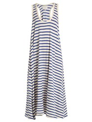 The Great Swing Striped Cotton Jersey Dress Blue White