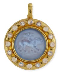 Elizabeth Locke Cupid Riding Lion Venetian Glass Intaglio Pendant Cerulean