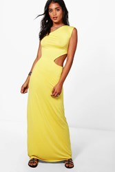 Boohoo One Shoulder Cut Out Maxi Dress Yellow