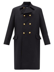 Connolly Double Breasted Wool Military Coat Navy