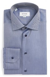 Eton Men's Big And Tall Contemporary Fit Chevron Dress Shirt Blue