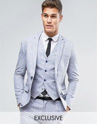 Only And Sons Skinny Suit Jacket In Linen Navy
