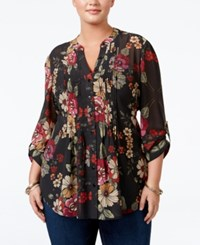American Rag Trendy Plus Size Floral Print Blouse Only At Macy's Classic Black Combo