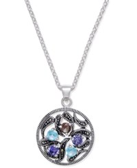 Macy's Marcasite And Crystal Vine Disc Pendant Necklace In Fine Silver Plate