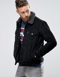 Levi's Cord Borg Lined Jacket Type 3 Trucker Black Sherpa
