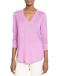 Lauren Ralph Lauren V Neck High Low Sweater Pure Lilac