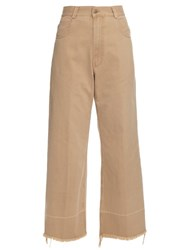 Rachel Comey Wide Leg Cotton Twill Cropped Chino Trousers Beige