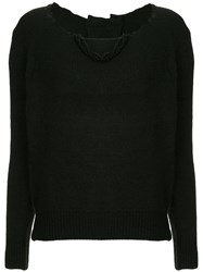 Uma Wang Distressed Neck Jumper Black