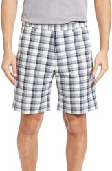 Bobby Jones Men's Big And Tall Plaid Tech Chino Shorts Grey