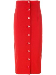 Off White Buttoned Pencil Skirt Red