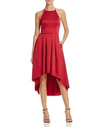 Aqua Satin High Low Halter Dress 100 Bloomingdale's Exclusive Wine