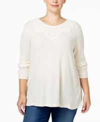 Styleandco. Style Co. Plus Size Lace Trim Top Only At Macy's Warm Ivory