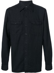 Tom Ford Military Button Shirt Black