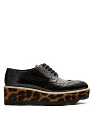 Prada Leopard Calf Hair And Leather Flatform Brogues 1061 Black Multi
