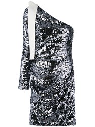 Msgm Sequin One Shoulder Dress Women Polyester Spandex Elastane 42 Grey
