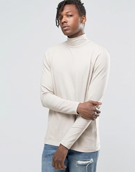 Kubban Denim Long Sleeve Shirt With Turtle Neck Beige