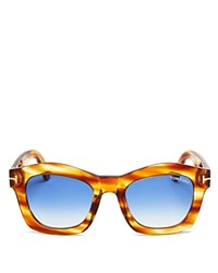 Tom Ford Greta Wayfarer Sunglasses 50Mm Honey Striped Brown Gradient Blue Lenses