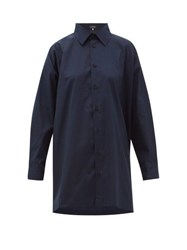 Eskandar Longline Flared Cotton Poplin Shirt Navy