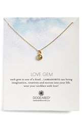 Women's Dogeared 'Love Gem' Semiprecious Stone Pendant Necklace Labradorite Gold