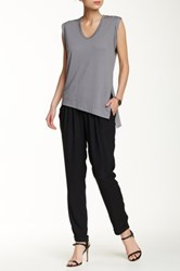 Lily White Tie Waist Cuff Soft Pant Black