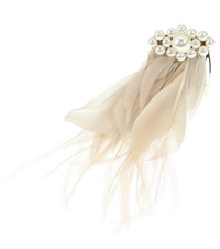 Simone Rocha Faux Pearl And Feather Hair Comb Beige