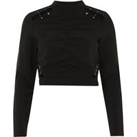 River Island Womens Black Ruched Cut Out High Neck Crop Top