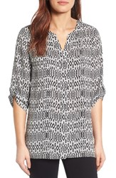 Chaus Women's Roll Sleeve Print Blouse