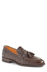 Zelli Men's 'Como' Genuine Crocodile Tassel Loafer Nicotine Leather