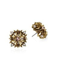 Badgley Mischka Vintage Floral Stud Earrings Gold