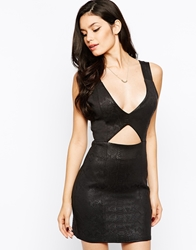 Rare Cut Out Bodycon Dress In Snakeskin Black