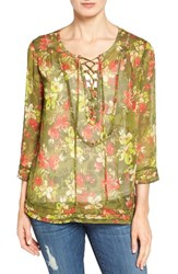 Kut From The Kloth Women's Aleena Lace Up Gauze Blouse