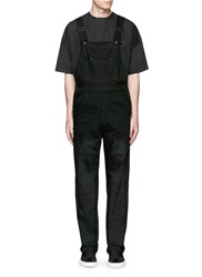 Givenchy Barb Wire Jesus Print Denim Overalls Black