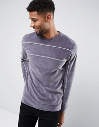 Asos Velour Sweat With Piping Grey