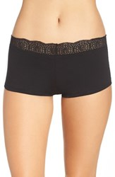 Free People Women's Medallion Lace Waistband Boyshorts Black