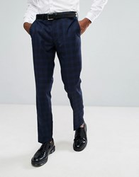 Rudie Blue Prince Of Wales Check Skinny Fit Suit Trousers