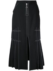 Ellery Pleated Side Maxi Skirt Black