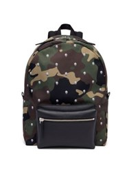 Alexander Mcqueen Calf Leather Camouflage Skull Patterned Backpack Army Black