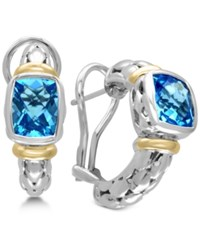 Effy Ocean Bleu Blue Topaz Hoop Earrings 5 Ct. T.W. In Sterling Silver And 18K Gold