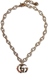Gucci Burnished Gold Tone Crystal Necklace One Size